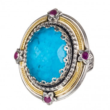 Gerochristo 20009N ~ Solid Gold, Silver & Stones Medieval Byzantine Imperial Cocktail Ring