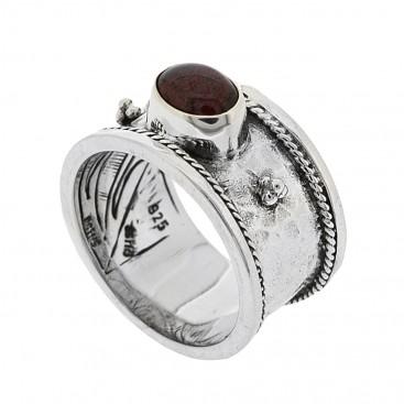Sterling Silver Byzantine Sing Stone Band Ring ~ Savati 315