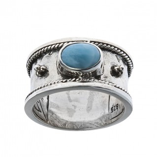 Sterling Silver Byzantine Sing Stone Band Ring ~ Savati 315