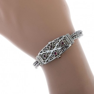 Sterling Silver Byzantine Chain Bangle Bracelet ~ Savati 316