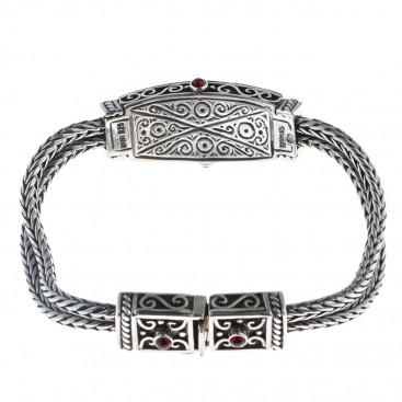 Sterling Silver Byzantine Chain Bangle Bracelet ~ Savati 316