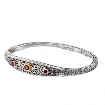 Gerochristo 6399N~ Solid Gold, Silver & Rubies Medieval Byzantine Bangle Bracelet
