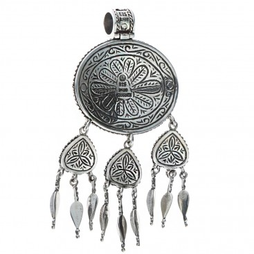 Sterling Silver Large Ornate Byzantine Pendant with Dangling Spearheads ~ Savati 318