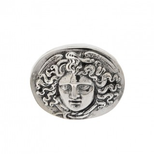 Sterling Silver Medusa Head Signet Ring ~ Savati 319