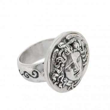 Sterling Silver Medusa Head Signet Ring ~ Savati 319
