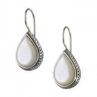 Gerochristo 1367N ~ Sterling Silver & MOP Medieval-Byzantine Drop Earrings