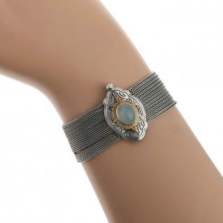 22K Solid Gold & Silver Multi Chain Byzantine Bracelet with Aquamarine ~ Savati 322