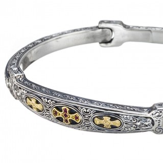 Gerochristo 6422N ~ 18K Solid Gold, Silver & Rubies Medieval Cross Bangle Bracelet