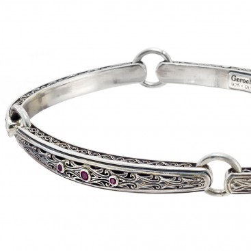 Gerochristo 6424N ~ Sterling Silver & Rubies Medieval Byzantine Engraved Bangle Bracelet