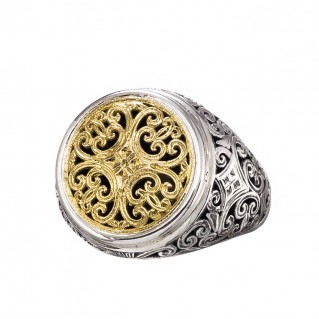 Gerochristo 20107N ~ Solid Gold & Silver Cocktail Filigree Round Ring