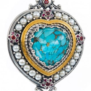 Gerochristo P3290N ~ Sterling Silver Medieval Multi-Stone Imperial Heart Pendant with Gold Accents