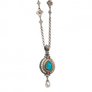 Gerochristo 3283N ~ Solid Gold & Silver Medieval Multi-Stone Imperial Pendant with Diamonds