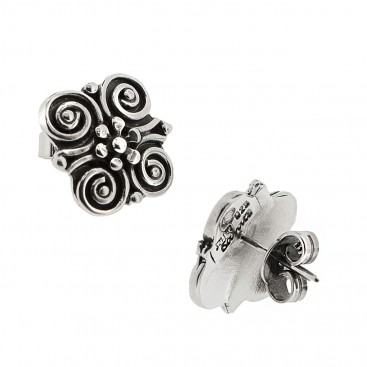 Sterling Silver Flower and Spirals Stud Earrings ~ Savati 325