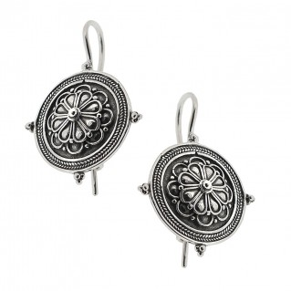 Sterling Silver Rosette Drop Earrings with Hooks ~ Savati 326