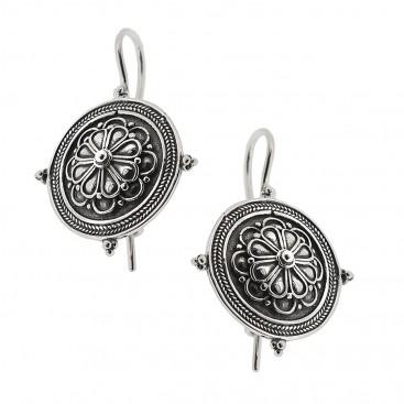 Sterling Silver Rosette Drop Earrings with Hooks ~ Savati 326