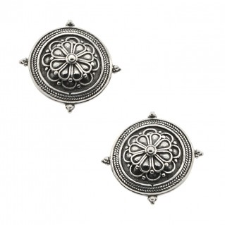 Sterling Silver Rosette Stud Earrings ~ Savati 326