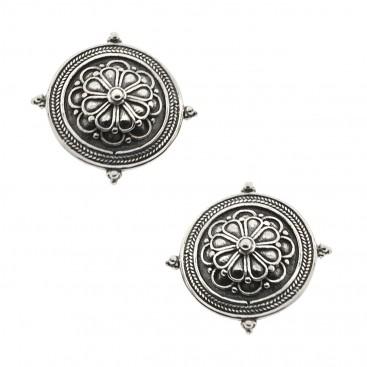 Sterling Silver Rosette Stud Earrings ~ Savati 326