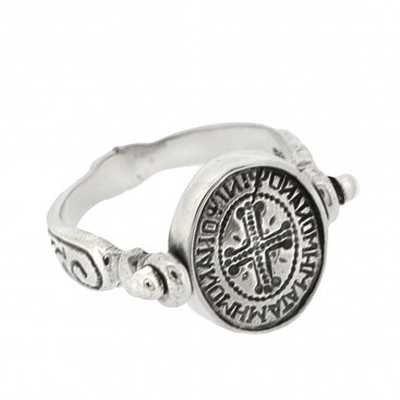 Sterling Silver Flip Ring with Byzantine Palindrome Inscription ~ Savati 327