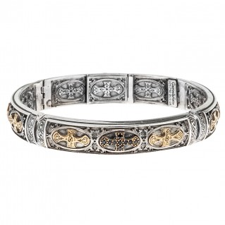 Gerochristo 6048N ~ Black Diamonds, Gold & Silver Medieval Cross Bangle Bracelet