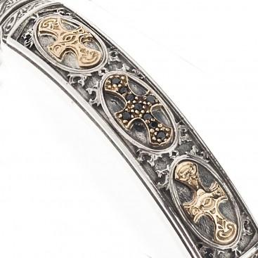 Gerochristo 6048N ~ Black Diamonds, Gold & Silver Medieval Cross Bangle Bracelet