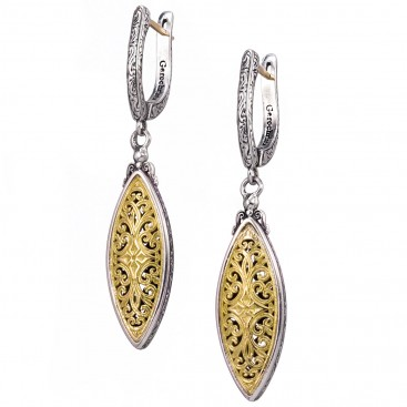 Gerochristo 1811N~ 18K Gold & Silver Medieval Byzantine Filigree Navette Long Earrings