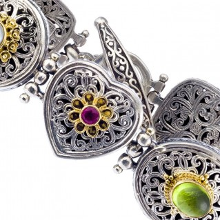 Gerochristo 6408N ~ Solid Gold & Silver Multi-Stone Filigree Link Bracelet