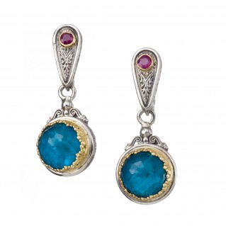 Gerochristo 1852N ~ Solid Gold & Silver Medieval Byzantine Drop Earrings with Rubies & Doublet Stones