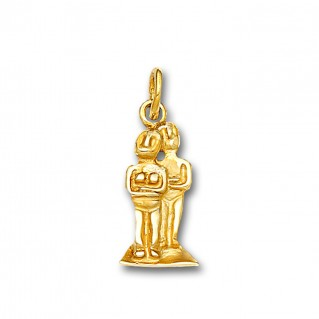 Cycladic Couple - Male and Female Idol Figurines ~14K Solid Gold Charm Pendant - M
