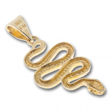 Snake-Serpent - 14K Solid Gold Pendant A/Large