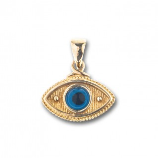 Evil Eye Amulet ~ 14K Solid Gold Charm Pendant - B/Medium