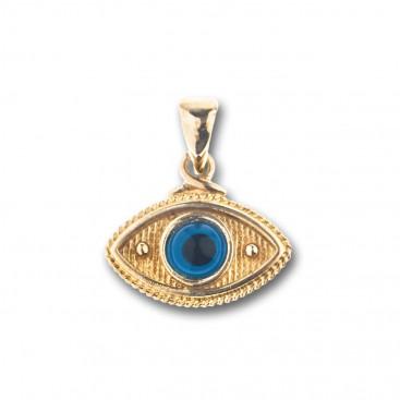 Evil Eye Amulet ~ 14K Solid Gold Charm Pendant - B/Medium