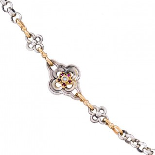 Gerochristo 4105N ~ Solid Gold, Silver, Rubies & Diamonds Flower Station Chain Necklace