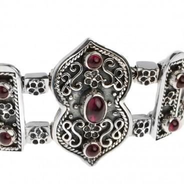 Sterling Silver Ornate Bangle Bracelet with Garnet Gemstones ~ Savati 328
