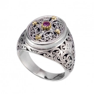 Gerochristo 20144N ~ Solid Gold & Silver Oval Cocktail Filigree Ruby Ring