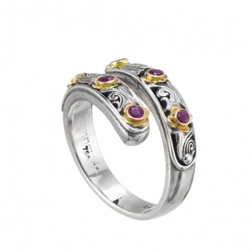Gerochristo 20122N ~ 18K Solid Gold & Silver Bypass Wrap Ring with Rubies