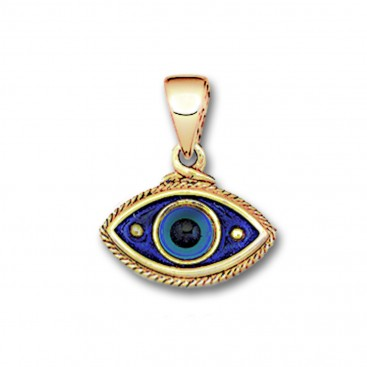 Evil Eye Amulet ~ 14K Solid Gold & Hot Enamel Charm Pendant - B/Medium