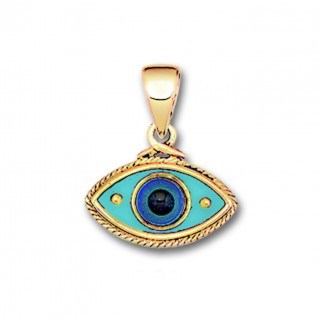 Evil Eye Amulet ~ 14K Solid Gold & Hot Enamel Charm Pendant - B/Medium