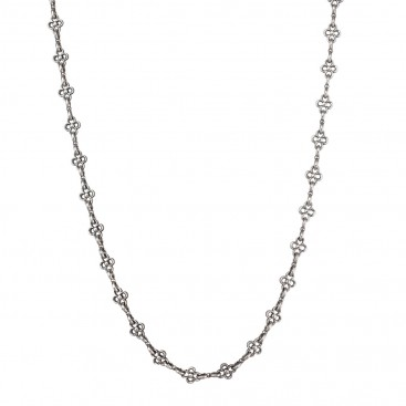 Gerochristo 4106N ~ Stering Silver Floral Chain Necklace