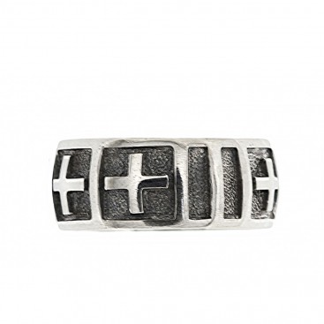 Sterling Silver Medieval Band Ring with Grooves & Crosses ~ Savati 329