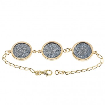 Minoan Phaistos Disks ~ Sterling Silver & Gold Accents Station Link Bracelet