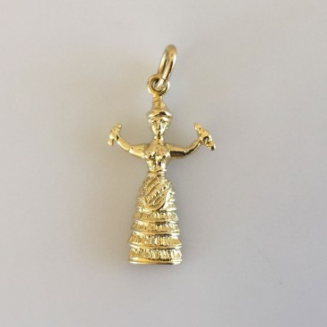 Minoan Goddess with Snakes - 14K Solid Gold Pendant