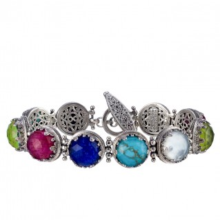 Gerochristo 6275N ~ Sterling Silver Medieval Link Bracelet with Doublet Stones