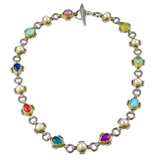 Gerochristo P4109N ~ Sterling Silver Medieval Byzantine Multicolor Pearls & Stones Necklace