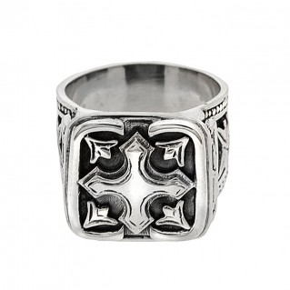 Sterling Medieval Cross Band Ring with Raised Motifs ~ Savati 330