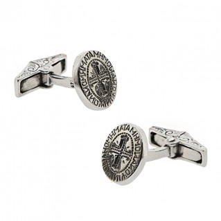 Sterling Silver Cufflinks with Byzantine Palindrome Inscription ~ Savati 331