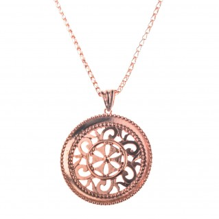Rose Gold Sterling Silver Byzantine Filigree Disk Pendant Necklace - Large