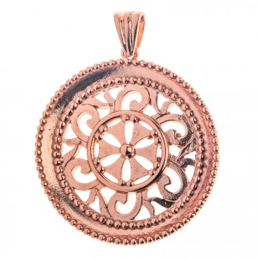 Rose Gold Sterling Silver Byzantine Filigree Disk Pendant Necklace - Large