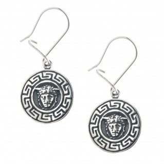 Medusa Head with Meander Bezel ~ Sterling Silver Drop Earrings