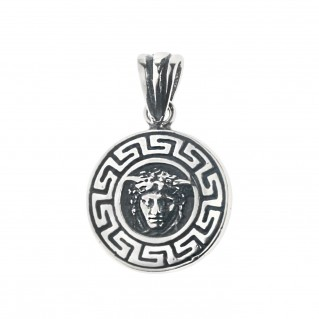 Medusa Head with Meander Bezel ~ Sterling Silver Charm Pendant