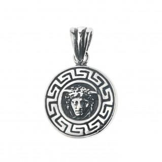 Medusa Head with Meander Bezel ~ Sterling Silver Charm Pendant
